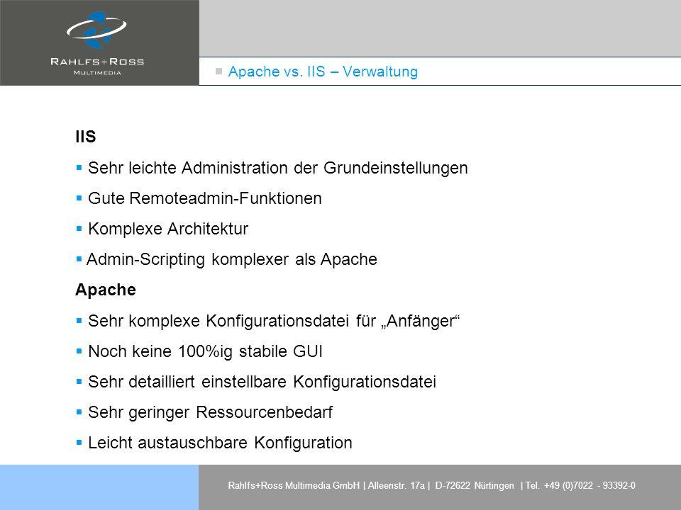 Apache vs. IIS – Verwaltung