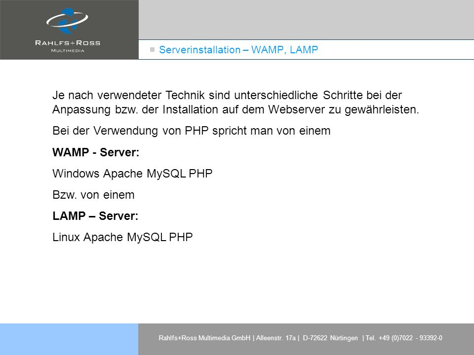 Serverinstallation – WAMP, LAMP