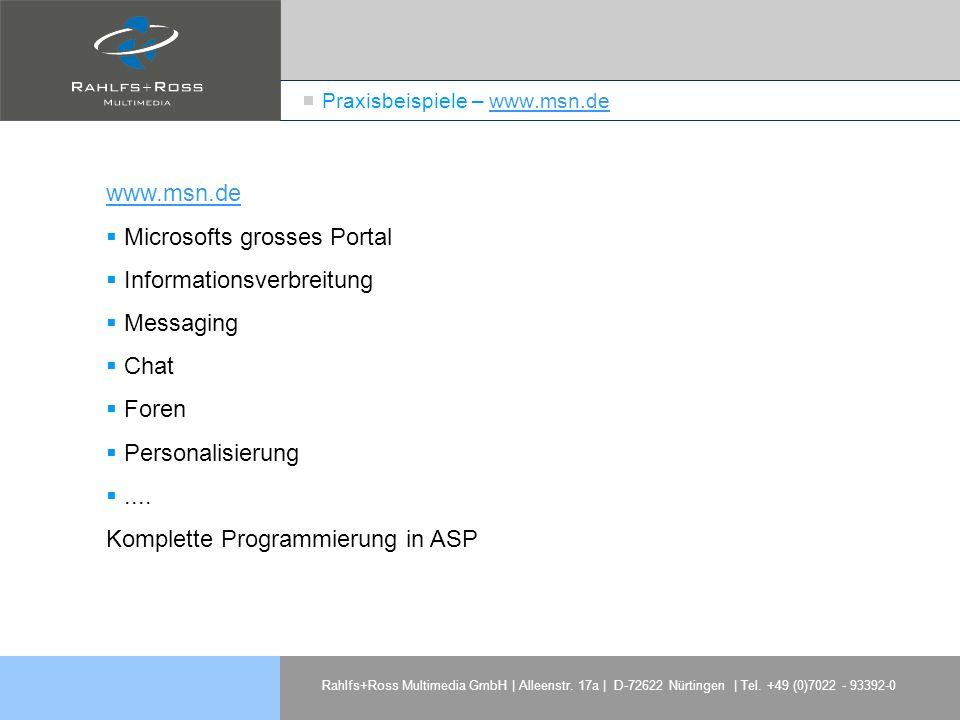Praxisbeispiele – www.msn.de