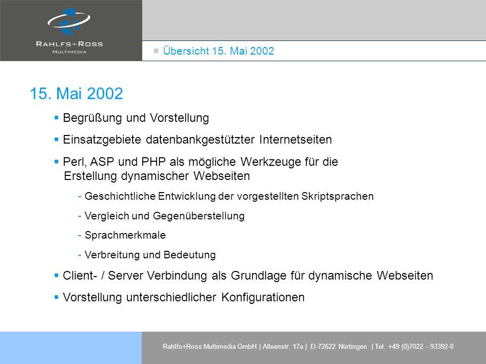 15. Mai 2002 Begrüßung und Vorstellung
