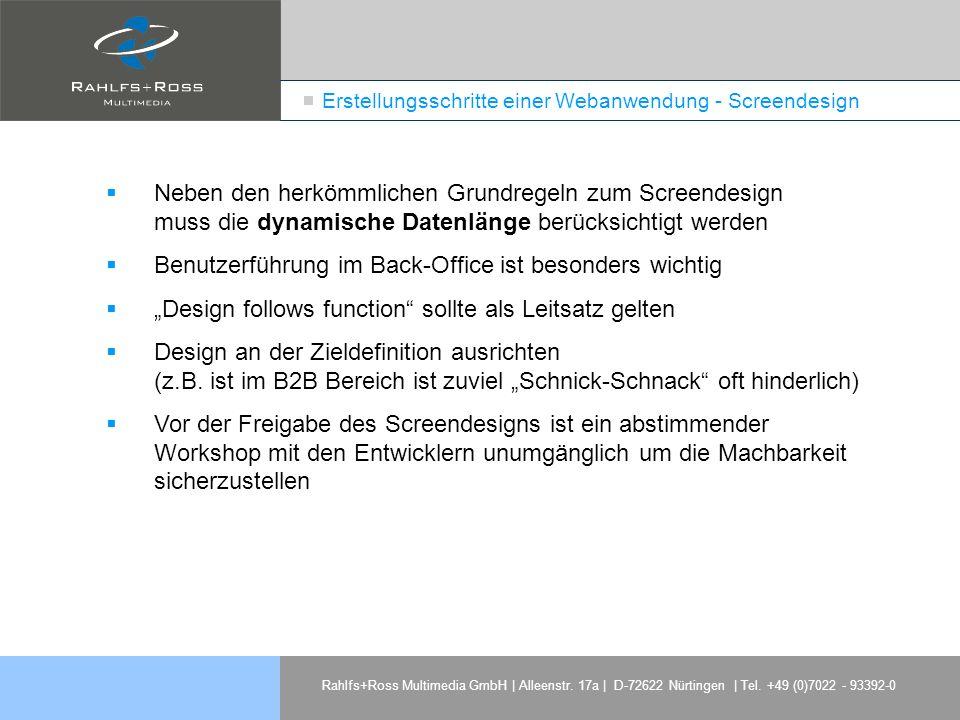 Erstellungsschritte einer Webanwendung - Screendesign
