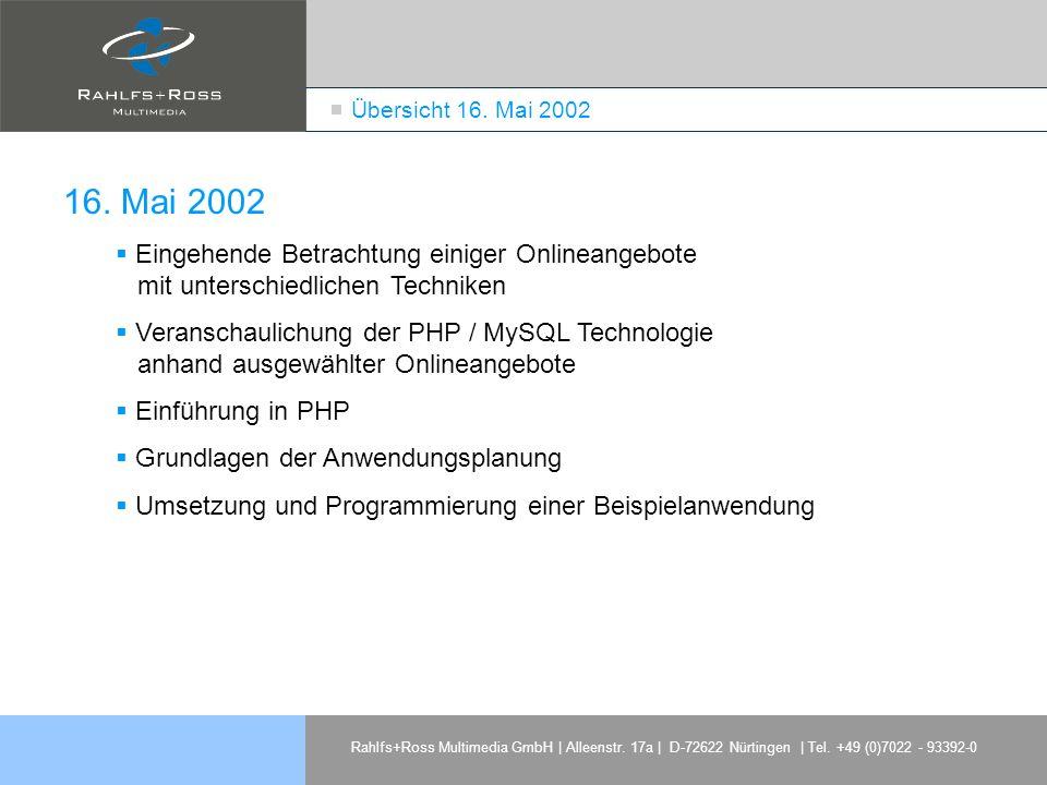 Übersicht 16. Mai 2002 16. Mai 2002. Eingehende Betrachtung einiger Onlineangebote mit unterschiedlichen Techniken.