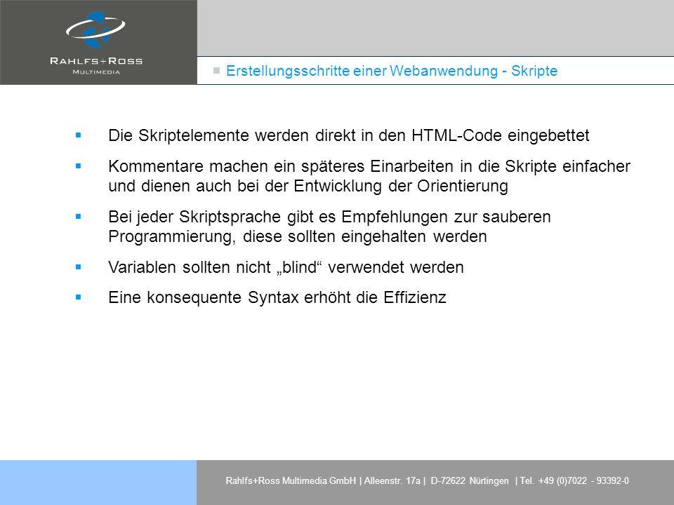 Erstellungsschritte einer Webanwendung - Skripte