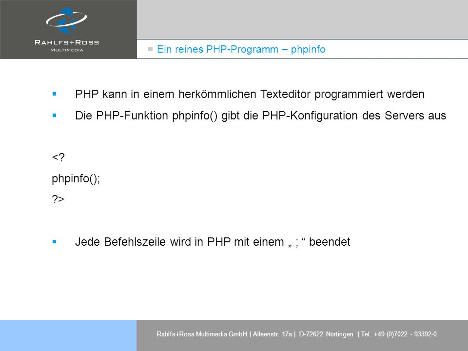 Ein reines PHP-Programm – phpinfo