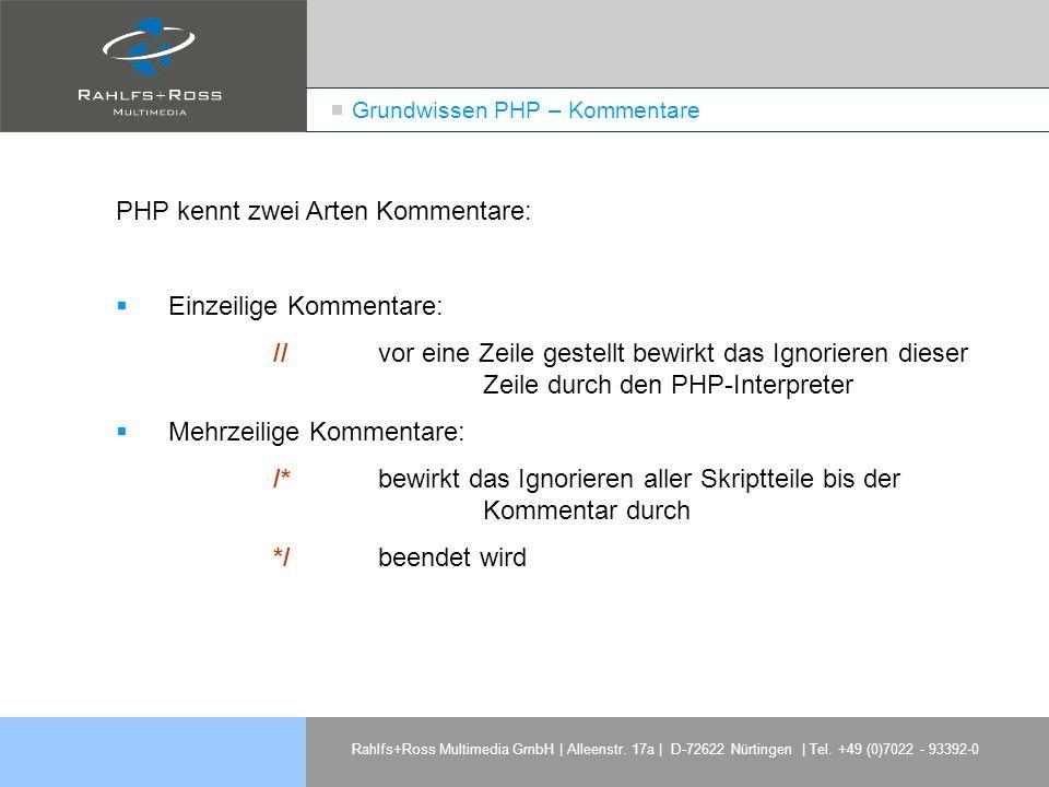 Grundwissen PHP – Kommentare