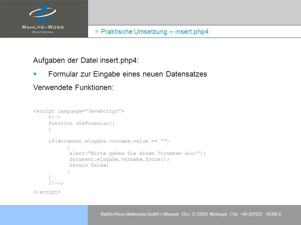Praktische Umsetzung – insert.php4