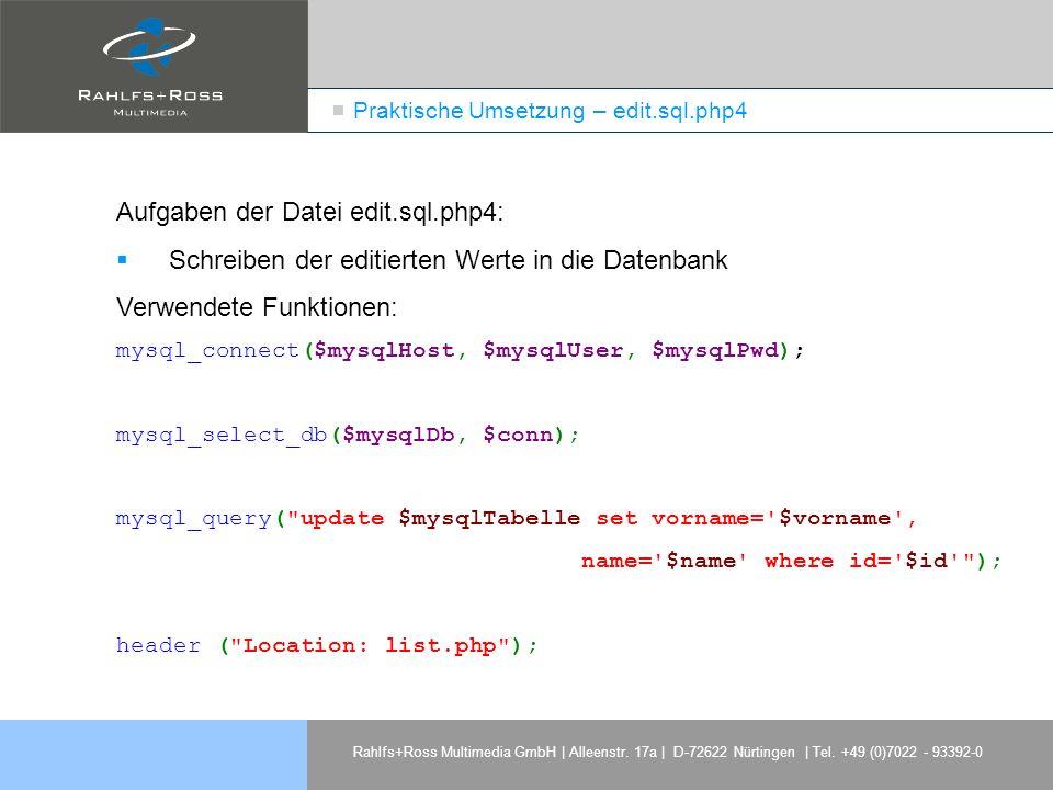 Praktische Umsetzung – edit.sql.php4