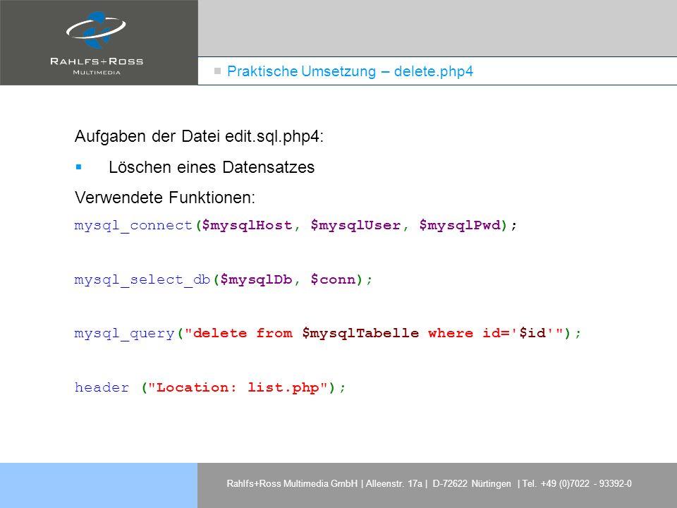 Praktische Umsetzung – delete.php4