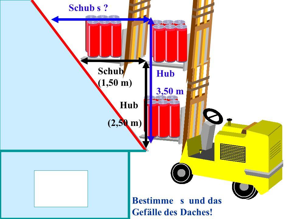 Schub s Schub (1,50 m) Hub 3,50 m Hub (2,50 m) Bestimme s und das Gefälle des Daches!
