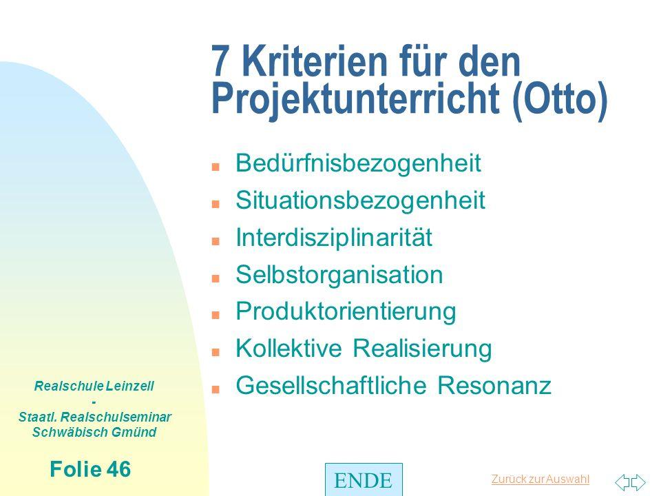 7 Kriterien für den Projektunterricht (Otto)