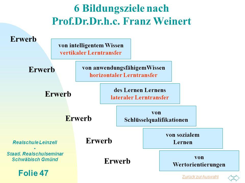 6 Bildungsziele nach Prof.Dr.Dr.h.c. Franz Weinert