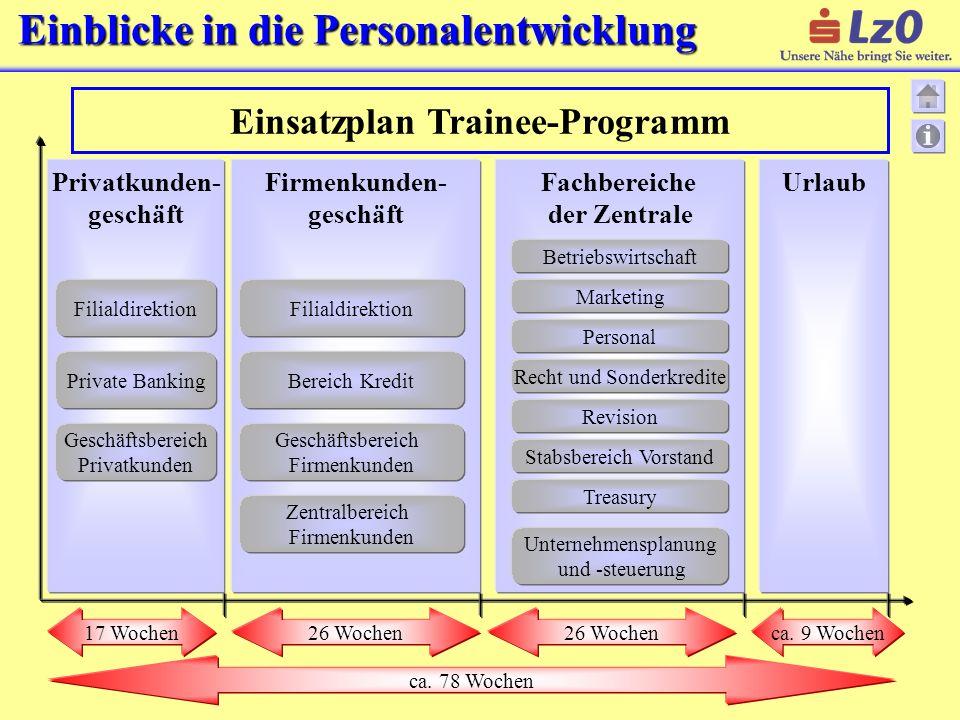 Einsatzplan Trainee-Programm Fachbereiche der Zentrale