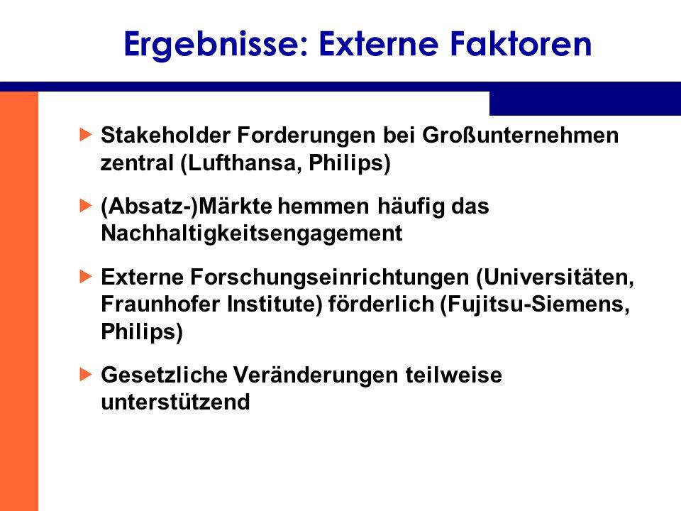 Ergebnisse: Externe Faktoren
