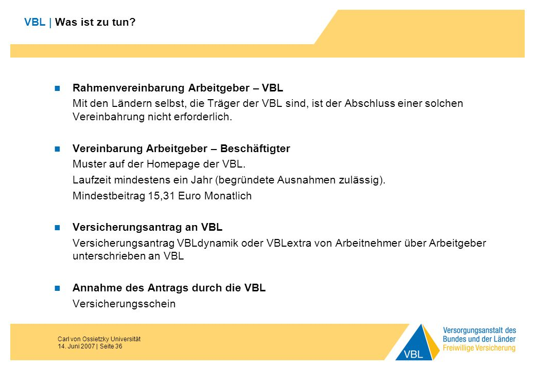 Rahmenvereinbarung Arbeitgeber – VBL