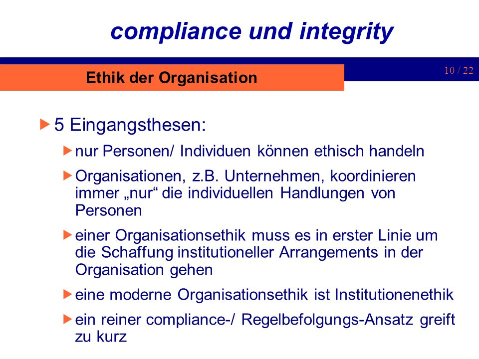 compliance und integrity