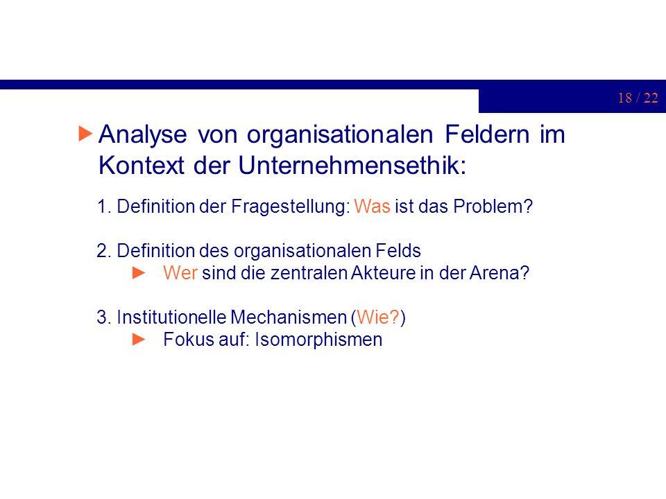 Analyse von organisationalen Feldern im Kontext der Unternehmensethik:
