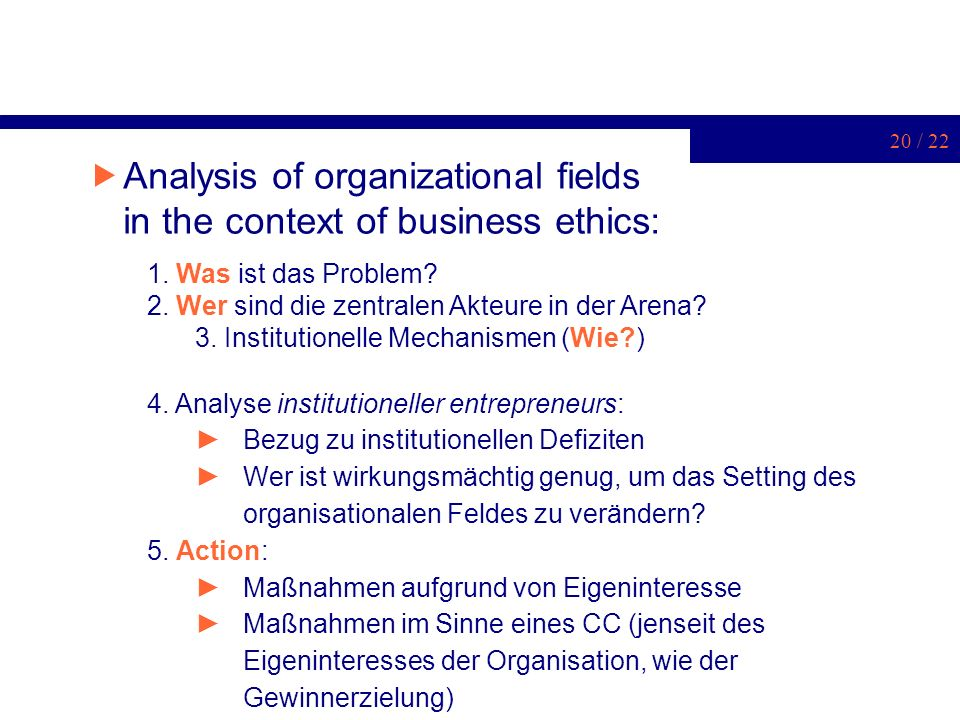 Analysis of organizational fields in the context of business ethics: