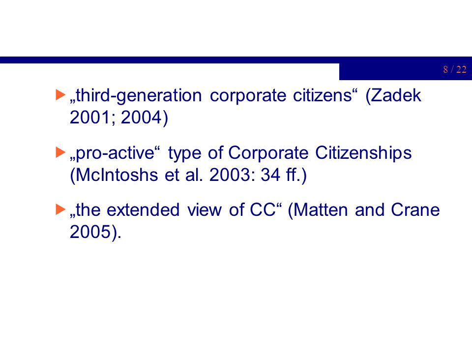 """third-generation corporate citizens (Zadek 2001; 2004)"