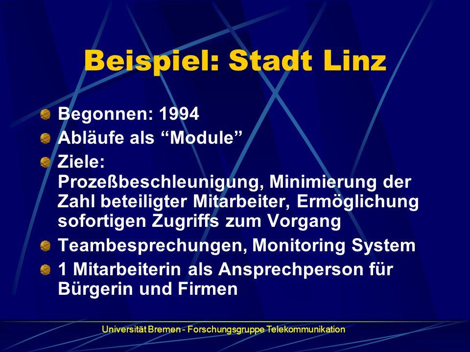 Beispiel: Stadt Linz Begonnen: 1994 Abläufe als Module