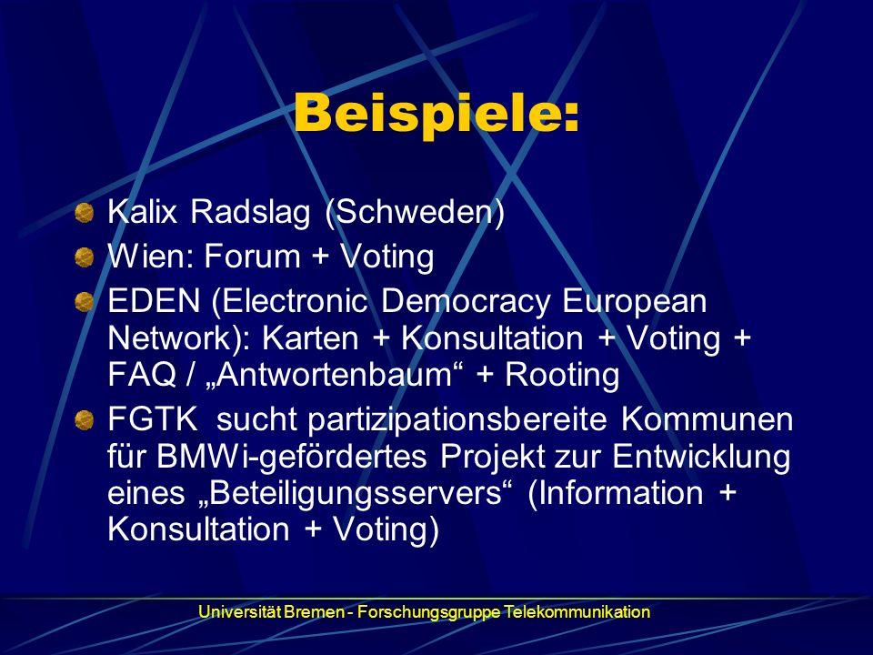 Beispiele: Kalix Radslag (Schweden) Wien: Forum + Voting