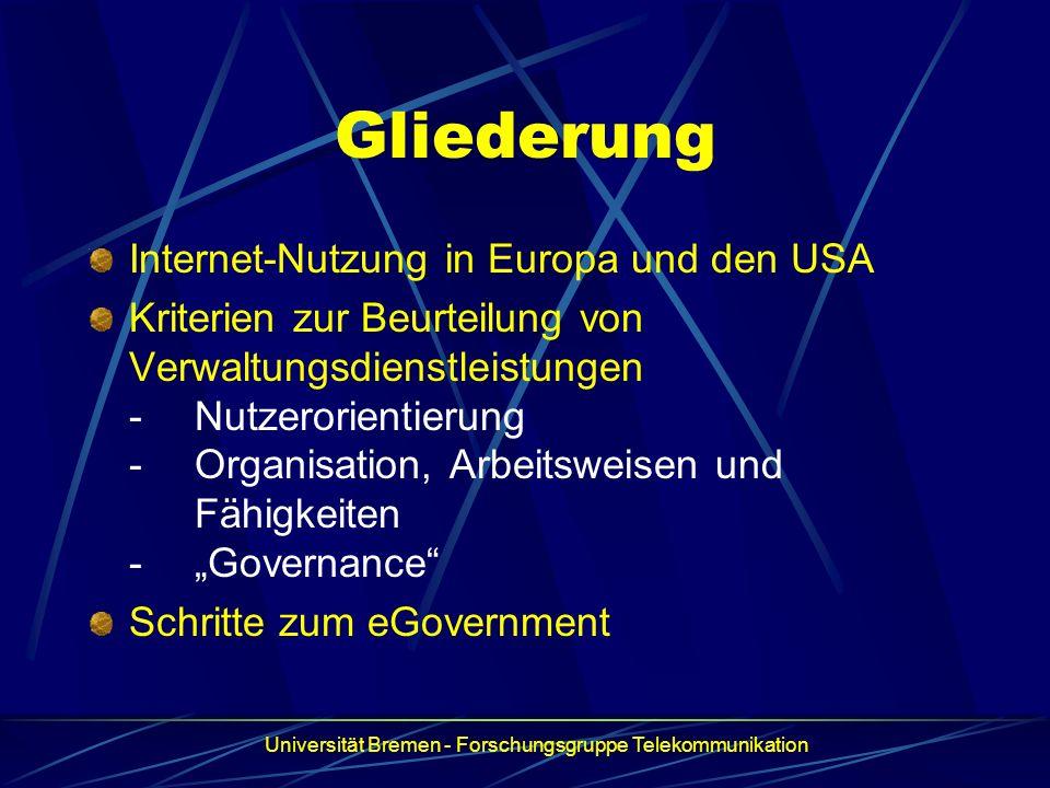 Gliederung Internet-Nutzung in Europa und den USA