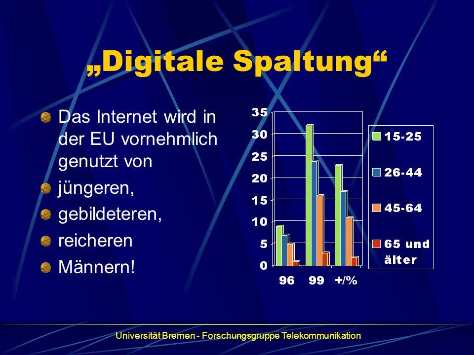 """""""Digitale Spaltung Das Internet wird in der EU vornehmlich genutzt von. jüngeren, gebildeteren, reicheren."""