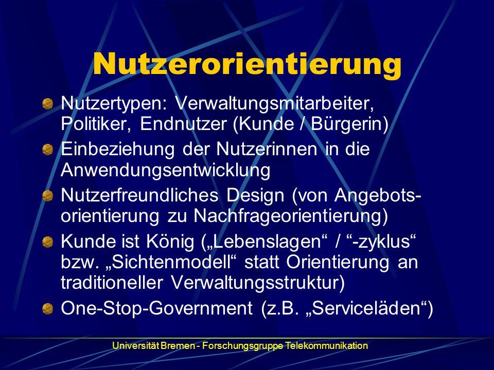 Nutzerorientierung Nutzertypen: Verwaltungsmitarbeiter, Politiker, Endnutzer (Kunde / Bürgerin)
