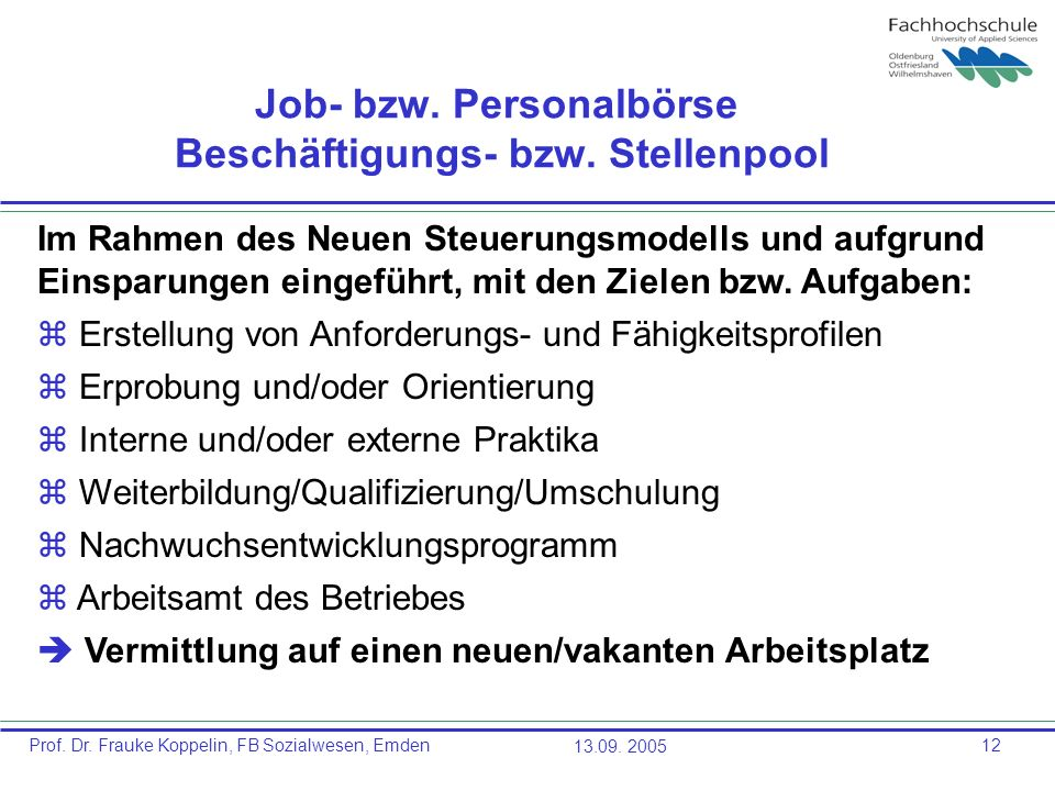 Job- bzw. Personalbörse Beschäftigungs- bzw. Stellenpool