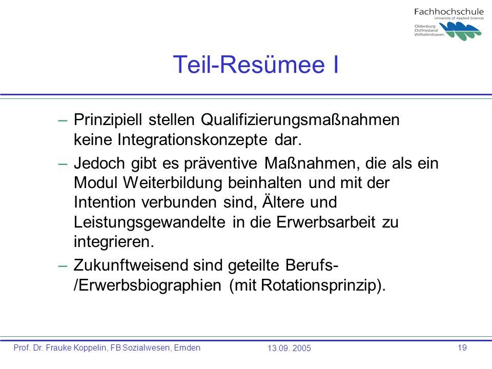 Teil-Resümee I Prinzipiell stellen Qualifizierungsmaßnahmen keine Integrationskonzepte dar.
