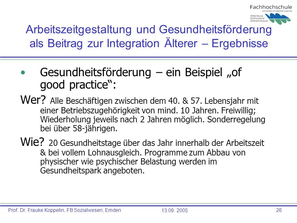 """Gesundheitsförderung – ein Beispiel """"of good practice :"""