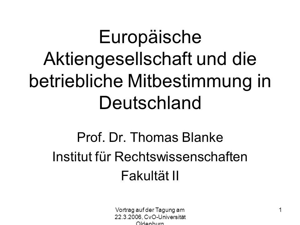 Prof. Dr. Thomas Blanke Institut für Rechtswissenschaften Fakultät II