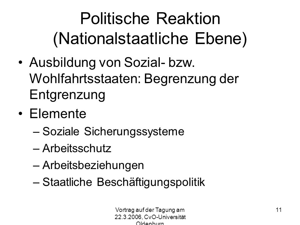 Politische Reaktion (Nationalstaatliche Ebene)