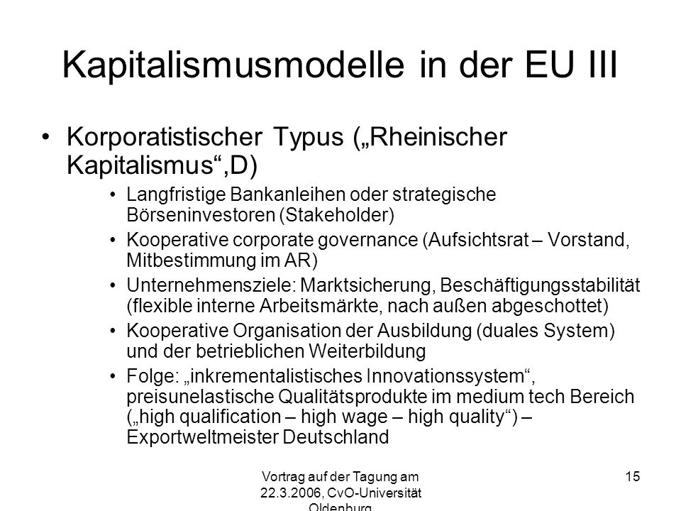 Kapitalismusmodelle in der EU III