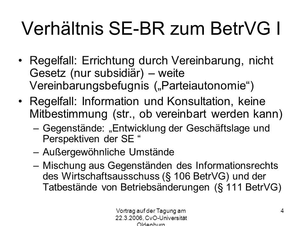 Verhältnis SE-BR zum BetrVG I