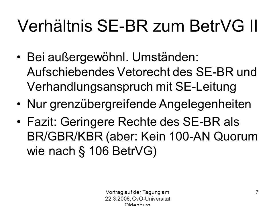Verhältnis SE-BR zum BetrVG II