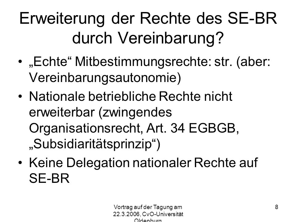 Erweiterung der Rechte des SE-BR durch Vereinbarung