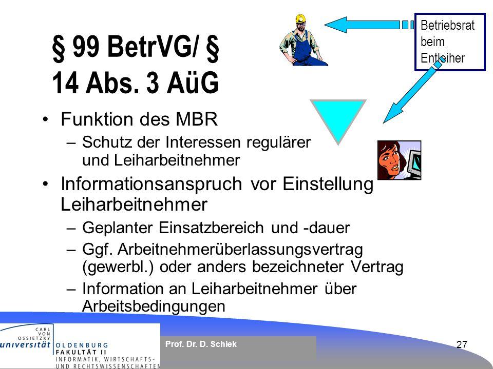 § 99 BetrVG/ § 14 Abs. 3 AüG Funktion des MBR