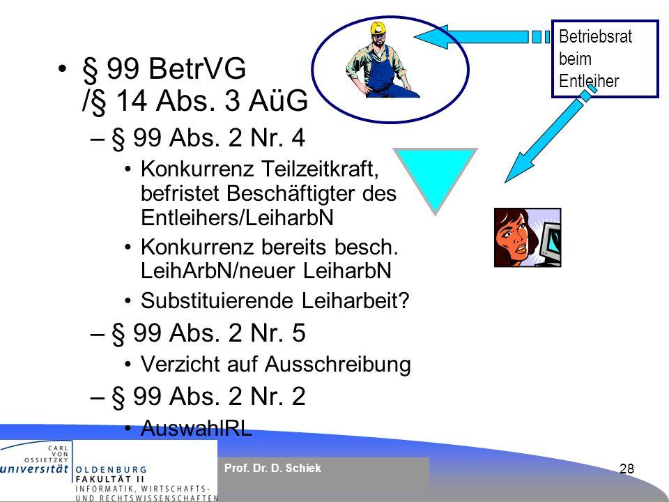 § 99 BetrVG /§ 14 Abs. 3 AüG § 99 Abs. 2 Nr. 4 § 99 Abs. 2 Nr. 5