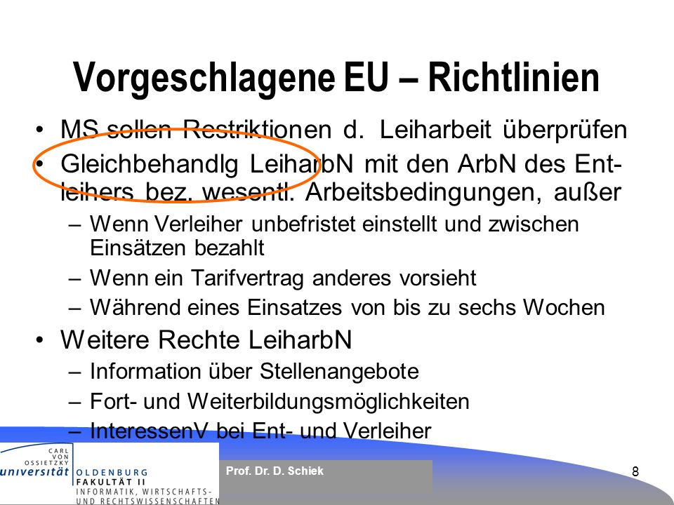 Vorgeschlagene EU – Richtlinien