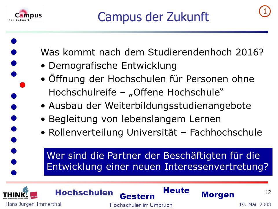 Campus der Zukunft Was kommt nach dem Studierendenhoch 2016