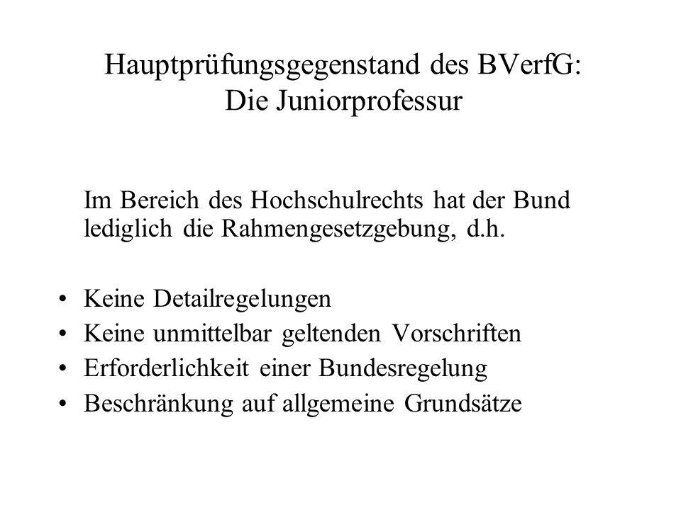 Hauptprüfungsgegenstand des BVerfG: Die Juniorprofessur