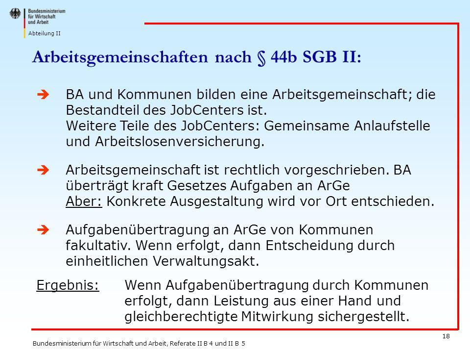 Arbeitsgemeinschaften nach § 44b SGB II: