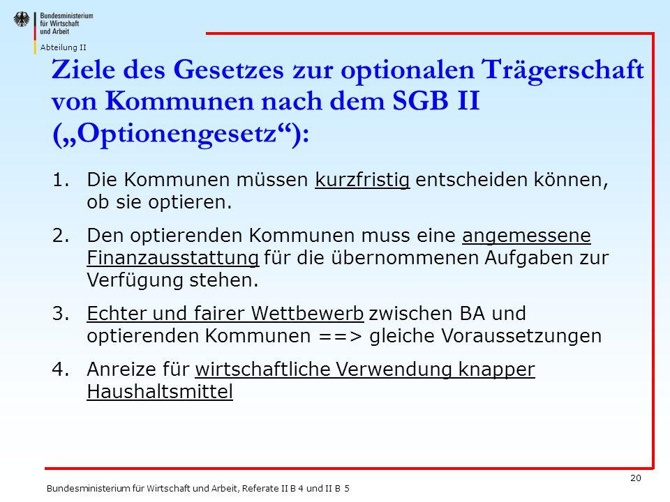 """27.03.2017 Ziele des Gesetzes zur optionalen Trägerschaft von Kommunen nach dem SGB II (""""Optionengesetz ):"""