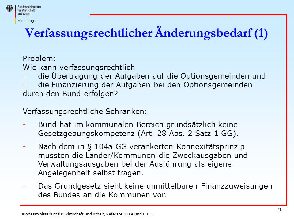 Verfassungsrechtlicher Änderungsbedarf (1)