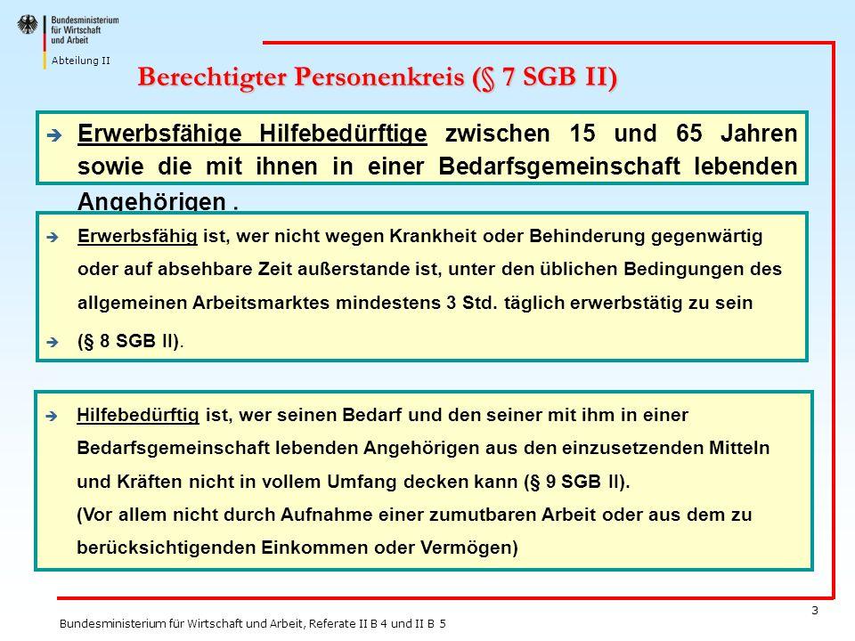 Berechtigter Personenkreis (§ 7 SGB II)