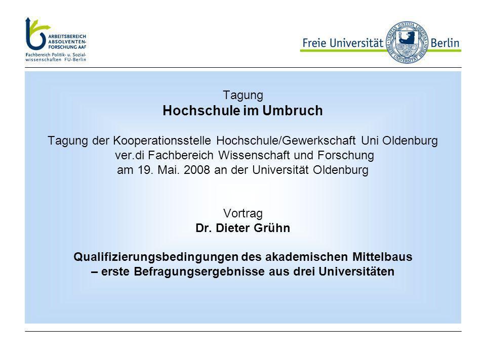 Tagung Hochschule im Umbruch Tagung der Kooperationsstelle Hochschule/Gewerkschaft Uni Oldenburg ver.di Fachbereich Wissenschaft und Forschung am 19.