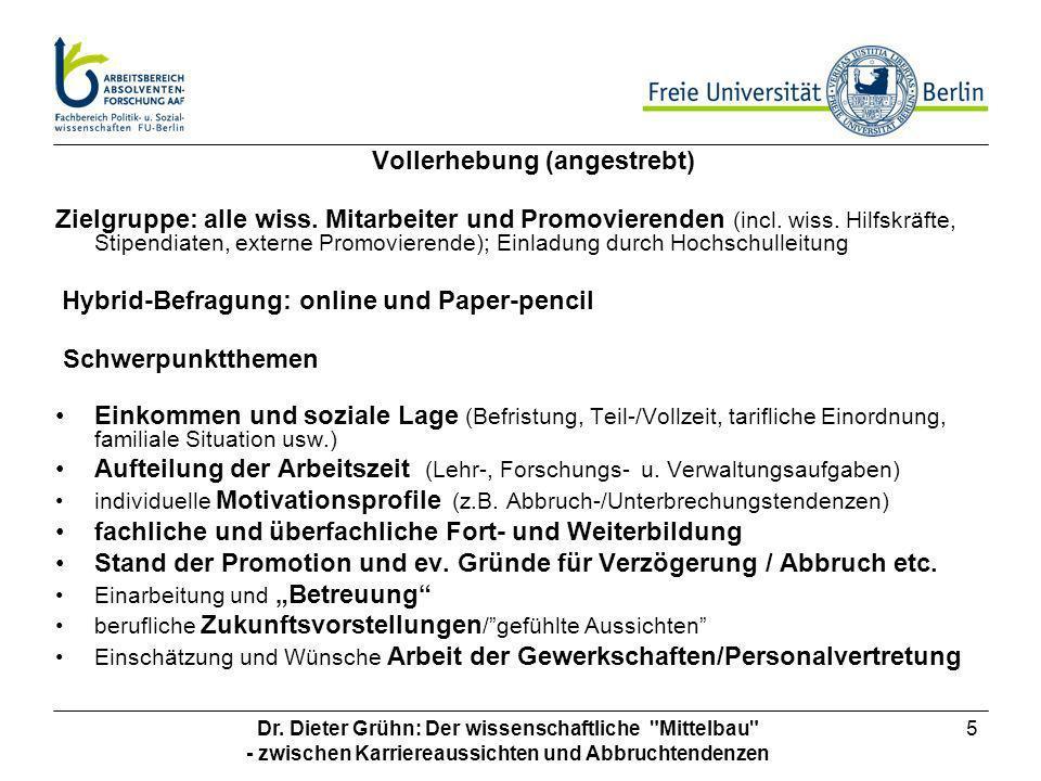 Aufteilung der Arbeitszeit (Lehr-, Forschungs- u. Verwaltungsaufgaben)