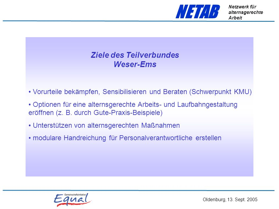 Ziele des Teilverbundes Weser-Ems