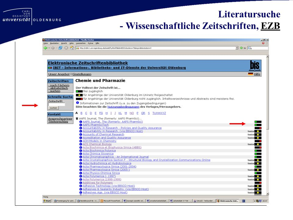 Literatursuche - Wissenschaftliche Zeitschriften, EZB