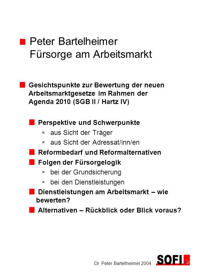 Peter Bartelheimer Fürsorge am Arbeitsmarkt